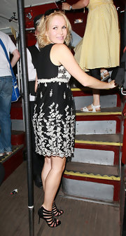 Amanda Holden was hauntingly beautiful in black gladiator heels on a ghost tour in London.