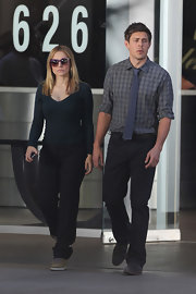 Chris Lowell wore a gray and navy gingham button down while on set of 'Veronica Mars.'