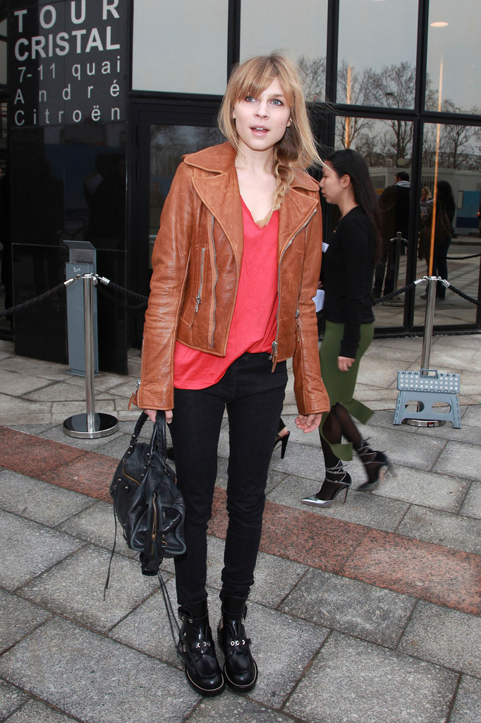 Clemence Poesy attends the Balenciaga Fall/Winter Ready-To-Wear collection show held at Quai Javel in Paris, France.