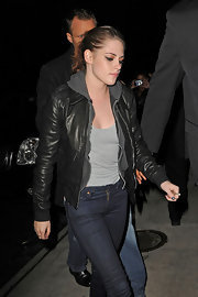 Kristen Stewart rocked a classic black leather moto jacket and hoodie while out to dinner in NYC.
