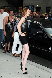 Kristen wore the fabulous suede Marlo pumps featuring cool clear panels.