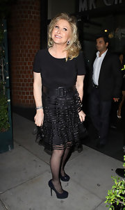 Kathy Hilton looked captivating in an LBD with a flirty tiered skirt.