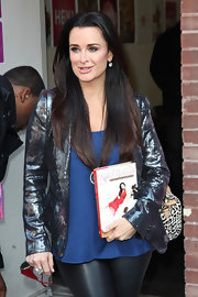 Kyle Richards kept her raven tresses sleek and straight for an appearance on 'The Wendy Williams Show.'