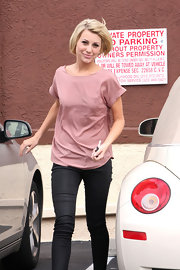 Chelsea was a blushing beauty at her DWTS rehearsal in a pink silk blouse and blue jeans.