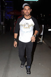 Wilmer Valderrama wore a pair of leather high-top running shoes while out in LA.