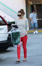 Lauren Conrad gave her trendy red pants the nautical treatment in a striped boatneck T-shirt.