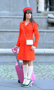 Lea Michele looked bright and cheery on the set of 'Glee' in this orange wool coat.