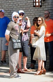 Susan Downey exuded a summer vibe in her sundress and brown wedges during a Memorial Day beach party.