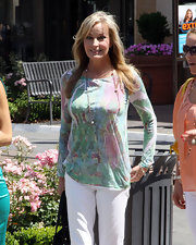 Bo Derek was a refreshing sight in her colorful print blouse on 'Extra.'