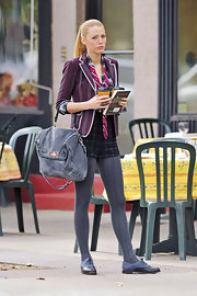 Blake lively was spotted toting a Garrison Satchel while filming an episode of 'Gossip Girls'.