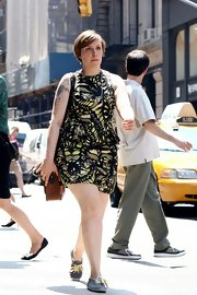 Lena stepped out in this boldly printed sleeveless dress while filming 'Girls.'