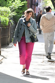 Lena Dunham'd double breasted denim jacket was a cool and casual choice for the writer/actress.