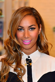 A bold and beautiful pink lip brought Leona Lewis' beauty look to life.