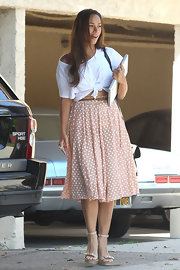 Leona Lewis donned a pink polka-dot skirt paired with a white crop top.