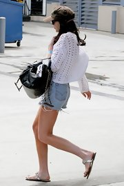 Lindsay was spotted leaving the hospital in a pair of classic denim cut-offs.