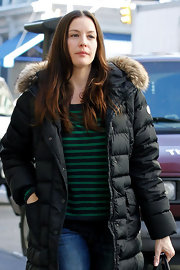 Liv Tyler wore her hair long and straight with a casual center part while out in NYC.