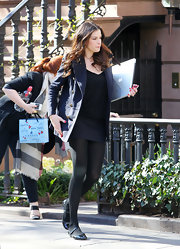 Liv Tyler hit the streets in girlish black patent mary jane flats.