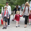Claudia Schiffer and Kids Head to School