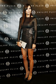 Elisabetta Gregoraci attended the Philippe Plein runway show during Milan Fashion Week looking fabulously fierce in this black leather mini dress.