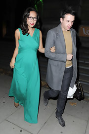 Myleene dons a lovely sea foam evening dress with leopard print shoes.