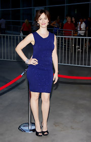 Maggie Siff showed off her curves in a blue mini dress with sequin details at the premiere of 'Sons of Anarchy.'