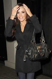 Maria Fowler topped off her stylish all-black ensemble with a leather tote for a night out on the town.
