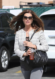 Maria Shriver chose a fitted print jacket for her casual but dressy daytime look while out shopping.