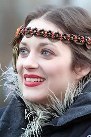Marion Cotillard wore a matte classic red lipstick while on set in NYC.