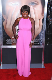 Viola Davis livened up the red carpet in a pink maxi-dress for the 'Extremely Loud and Incredibly Close' premiere.