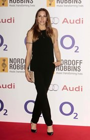 Melanie Chisholm went for subtle sophistication in a black sleeveless jumpsuit.
