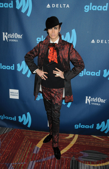 Patrick McDonald stuck to his signature style when he sported this black and burgundy suit to the GLAAD Media Awards.