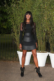 Naomi Campbell rocked a super edgy LBD with leather paneling.