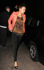 Michelle Rodriguez flaunted her slim and sexy gams in a pair of two-tone leggings during a night out at Chateau Marmont.