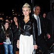 Miley Cyrus in White Pleats and a Moto Jacket