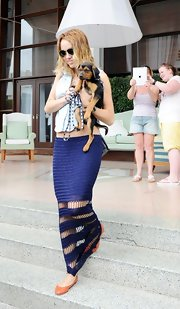 Miley Cyrus wore this unique crochet knit maxi skirt while out in Miami.