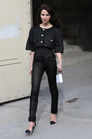 Caroline Sieber looked futuristic and cool in a black jumpsuit with matching crop top.