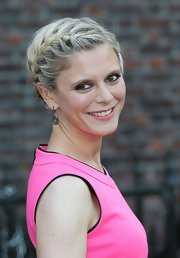 Emilia Fox chose a French braided updo for a simple but elegant 'do at the Fashion Rules Exhibit in London.