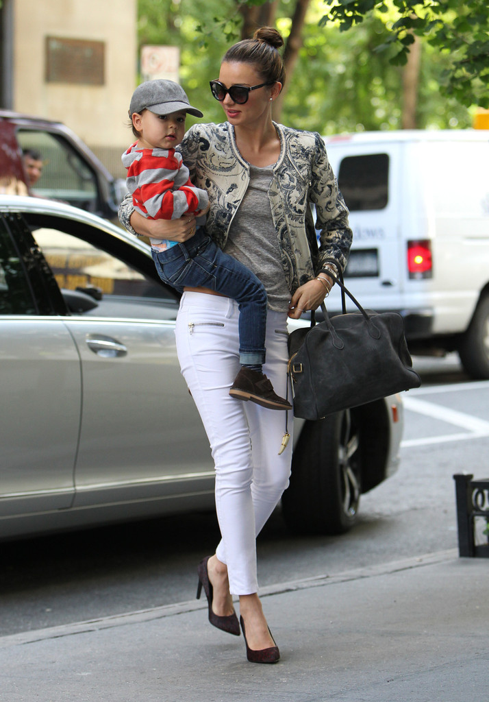 Miranda Kerr Gives Her Son a Lift