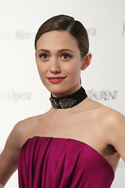 Emmy Rossum complemented her strapless dress with a gemstone choker when she attended the premiere of 'Manon.'