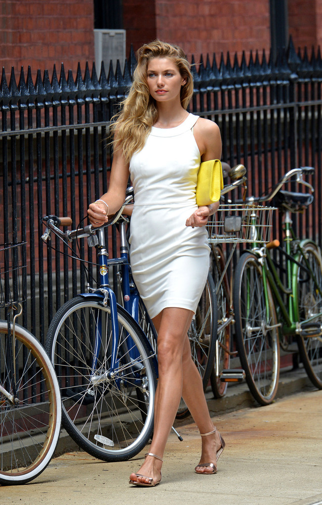 Jessica Hart spends the day modeling in New York City's West Village on July 23, 2013.