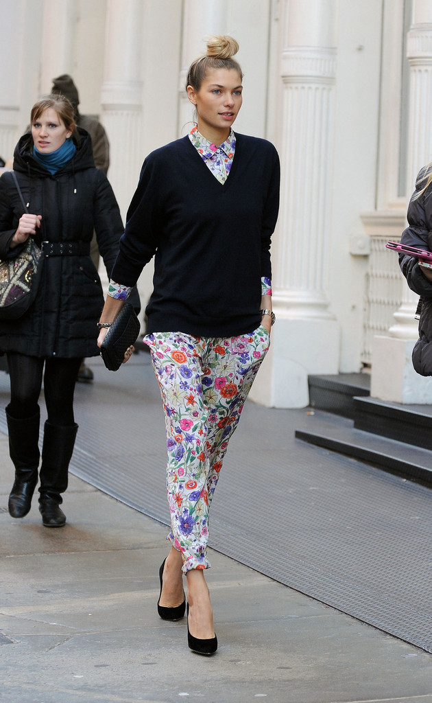 Jessica Hart sports colorful clothes from her own clothing line as she goes for a stroll in New York City.