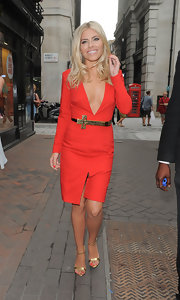 Mollie King styled her red-hot frock with gold ankle-strap sandals by River Island.