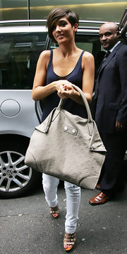 Frankie Sandford from the Saturdays showed off a cool leather shoulder bag, which was embossed with skulls.