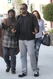 Sean Combs was comfy in gray sweatpants and a zip-up jacket while out and about in LA.