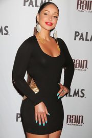 Mya wore a bright turquoise nail polish while attending a party at The Palms in Las Vegas.