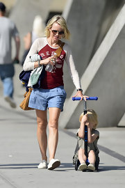 Naomi Watts sported pleated denim shorts while out in NYC.