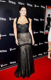 Gina Carano wore a lacy evening dress for the 'Haywire' premiere in LA.