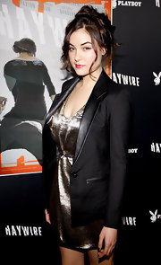 Sasha Grey looked fierce in a metallic cocktail dress and blazer for the 'Haywire' LA premiere.