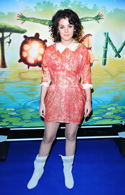 Katie wears a unique brocade cocktail dress with a peter pan collar.