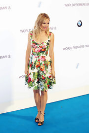 Sienna got pretty with summery florals at the BMW i3 party in London.